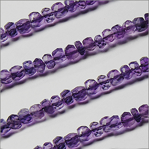 African Amethyst Beads Rondel Faceted Machine Cut Shape And Size 3.5 To 4  mm