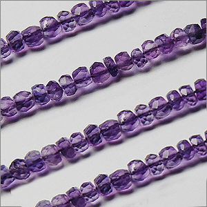 African Amethyst Beads Rondel Faceted Machine Cut Shape And Size 3 To 3.5 mm