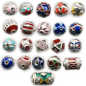 Silver Enamel Beads Lots - Enamel Beads Wholesale Lots