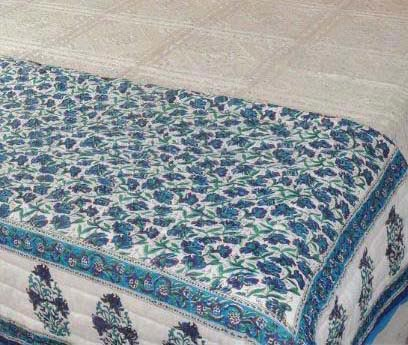 indian Cotton Quilts Cotton Hand Block King Size Reversible Quilt