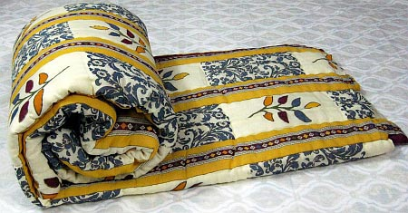 Quilt Bedding indian Cotton Quilt Block Print Handmade Comforter Blanket Rajai Nwt