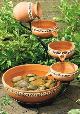 Duo Cascading Ceramic  Fountain - Ocean Green