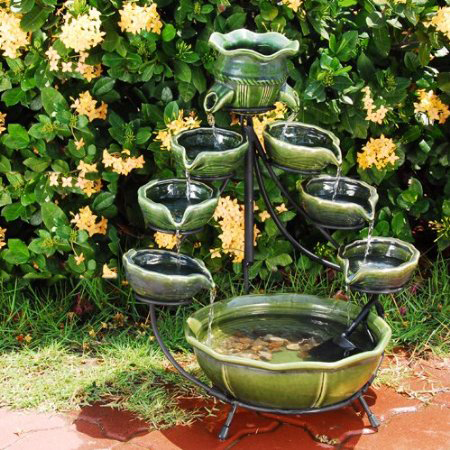Smart  23931R01 Ceramic  Cascading Fountain, Glazed Green Bamboo Design