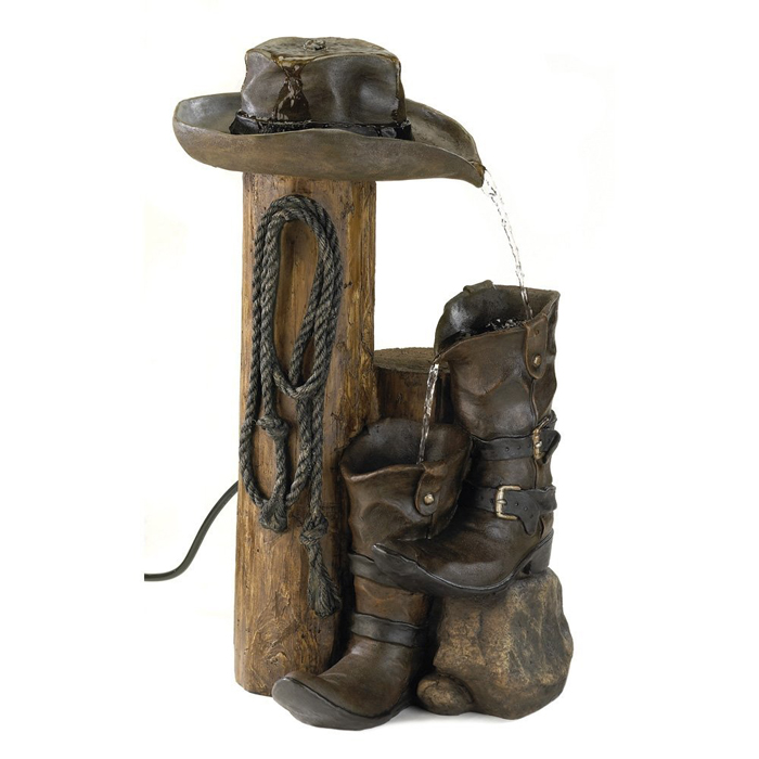 Wild Western Rustic Cowboy Hat Boot Water Fountain For Gifts & Decor