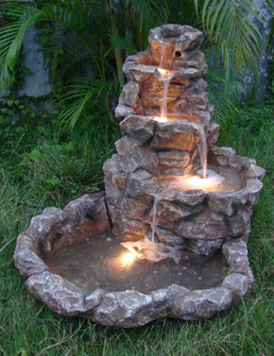 Lighted Stone Springs Outdoor Fountain