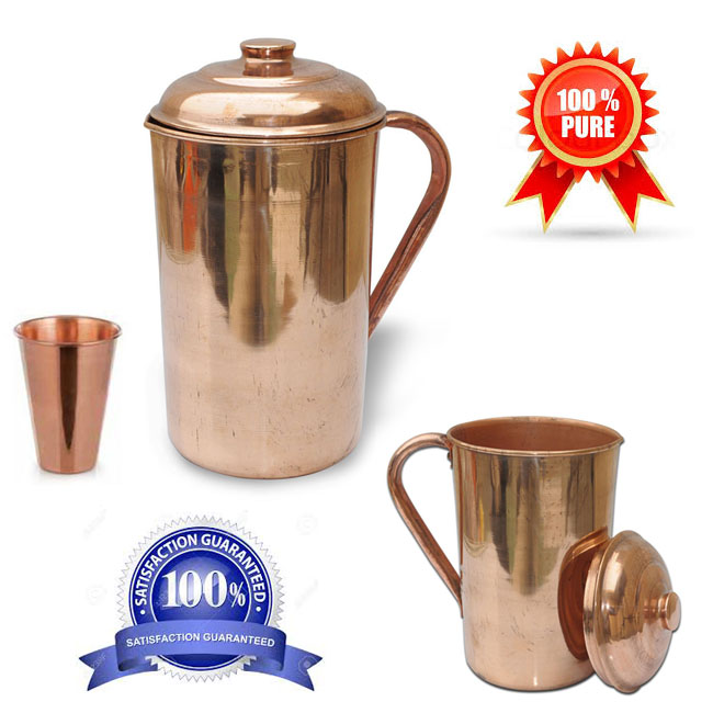 Copper Pitcher Jug with Lid Handmade Indian Drinkware Accessories