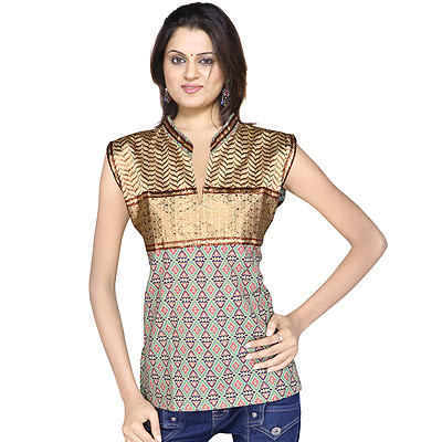 Ethnic Girls Resham Zari Work Indian Cotton Top