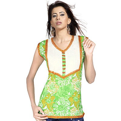 Exclusive Girls Lace Work Indian Cotton Kurti Top
