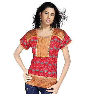 Girls Brocade Patch Work Indian Cotton Kurti Top