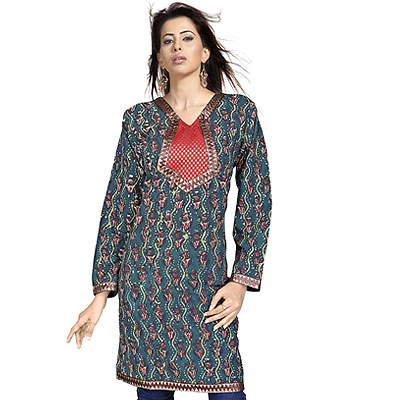Rajasthani Girls Zari Work Indian Cotton Kurti Top