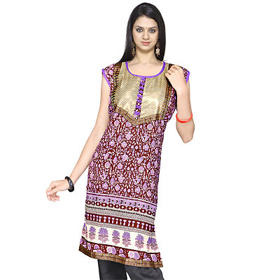 Exclusive Girls Zari Work Indian Cotton Kurti Top