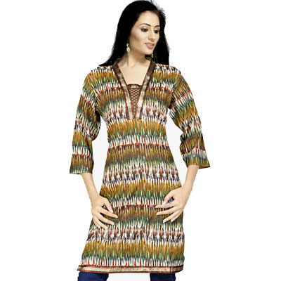 Bollywood Zari Lace Multi Color Cotton Kurti Top