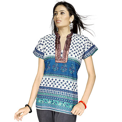 Floral Design Girls Brocade Indian Cotton Kurti Top