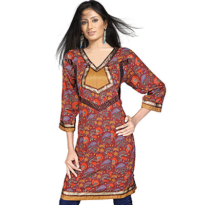 Gold print Brocade Indian Girls Cotton Kurti Top