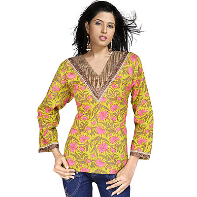 Bollywood Design Girls Brocade Cotton Kurti Top
