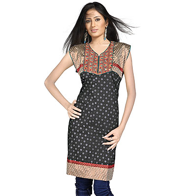 Designer Girls Embroidered Indian Cotton Kurti Top