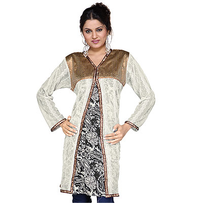 Designer Girls Zari Work Indian Cotton Kurti Top