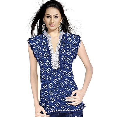 Floral Design Girls Hand Block Indian Cotton Top