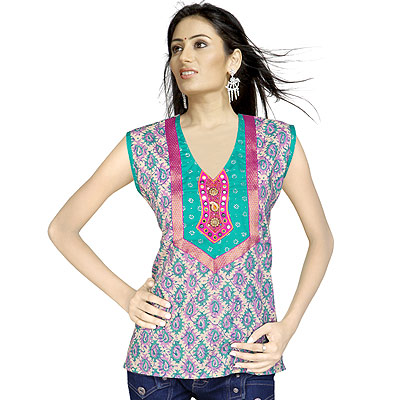 Bollywood Designer Embroidered Cotton Kurti Top