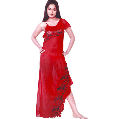 Trancy Red Chiffon Mermaid Style Ladies Night Frock