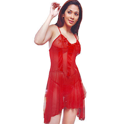 Trancy Soft Net Hot Red Chilly Ladies Night Frock