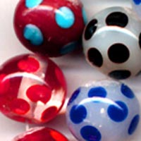 Round polka dot glass bead mix