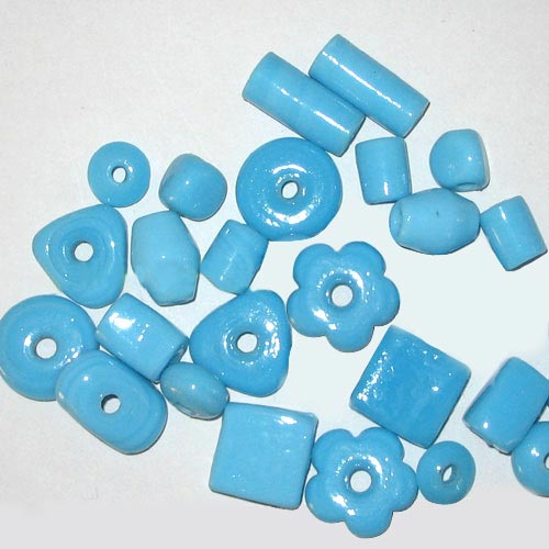 Plain Turquoise op.Mix large Shape Glass Beads