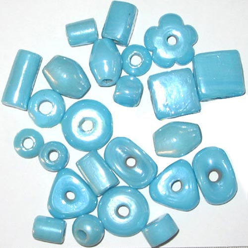 Plain Turquoise op.luster Mix large Shape Glass Beads