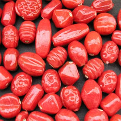 Plain Red opaque Mix Glass Beads