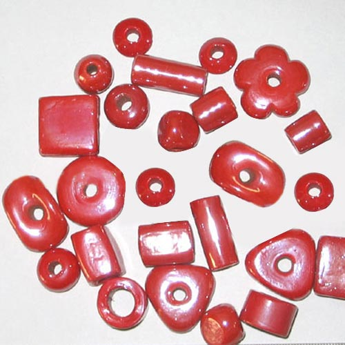 Plain Red opaque luster large Mix Glass Beads