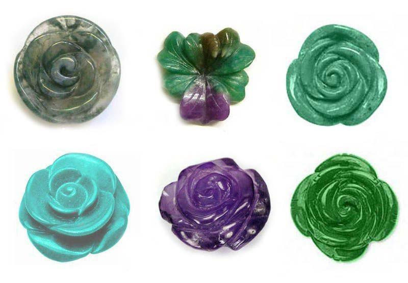 Carved Rose Flowers Gemstone Lot - Wholesale Carved Gemstone Lot