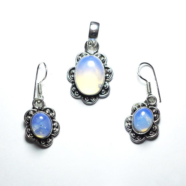 Rainbow Moon Stone Gemstone Pendant Earrings Set