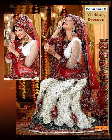 Off White And Maroon - Bridal Wear