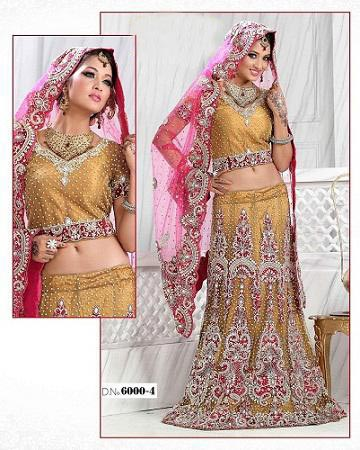 Golden Bridal Lehenga and Bridal Wear
